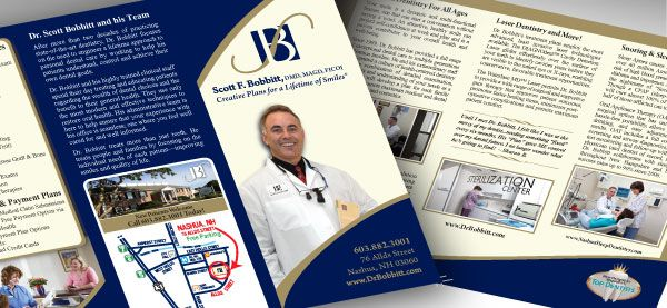 "Dr.Scott Bobbitt Family Dentistry <p class='pscrol'>""Karen helped us create a new edition to our outdated office brochure. Her input and expertise helped us over hurdles we struggled with and we are extremely pleased with the end result. We are very proud of the brochure, happy to share it with all new patients and referral offices. We are pleased to show it as it represents us well and that was a challenge for us to put into words in a small space. Karen helped us get through that process and encouraged us to go all out with the gold (5 vs 4 color) processing and even saved us money on the product. What more can you ask for? ""  <br/><br/>— Heather Bobbitt, Office Manager</p>"